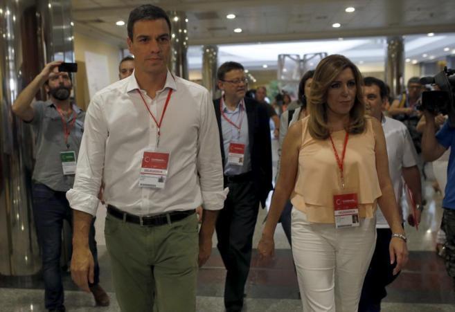 Susana Díaz y Pedro Sánchez, en el Congreso Federal del PSOE en...