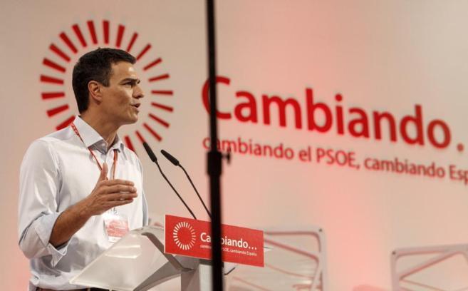 Pedro Sánchez, en su discurso de clausura del congreso extraordinario...