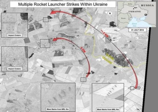 Fotografía por satélite donde se aprecian los supuestos impactos de...