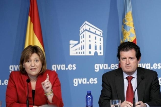 Isabel Bonig junto a José Císcar en una rueda de prensa.