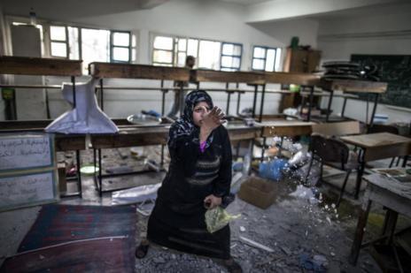 Imagen del interior de la escuela atacada.