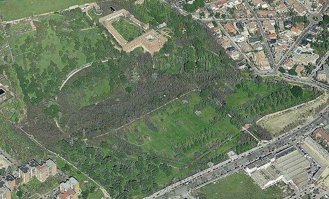 Vista aérea sobre la finca Torre Arias, en la calle Alcalá.