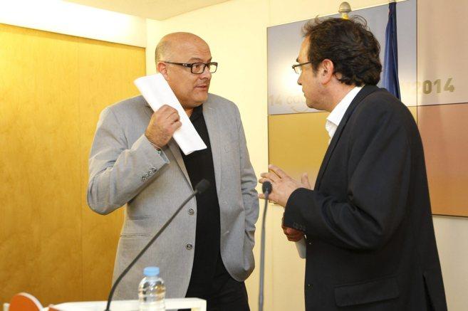 Luis Corominas y Josep Rull en una rueda de prensa de CDC.