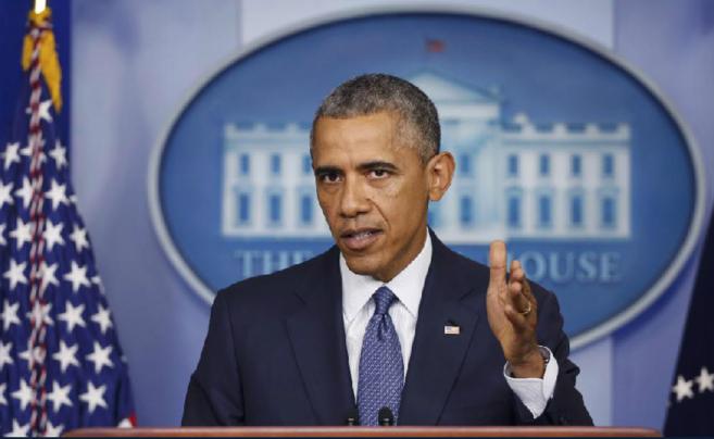 El presidente estadounidense, hoy durante su intervención en la Casa...