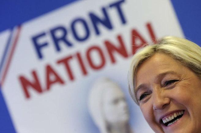 Marine Le Pen, durante una rueda de prensa en la sede del Frente...