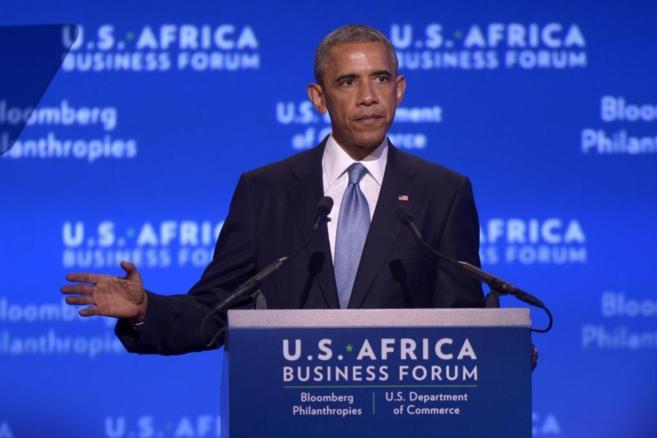 Obama habla durante el Foro de Negocios Estados Unidos-África en el...