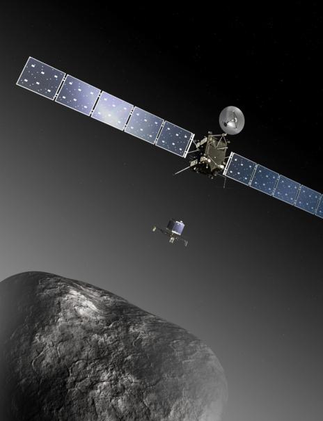 Recreación artística de la sonda 'Rosetta' aproximándose al cometa...