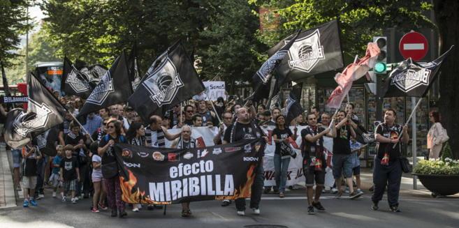 Manifestación de apoyo al Bilbao Basket del pasado 29 de julio.
