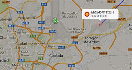 Imagen de radar del avión en Torrejón, a las 8:10 horas de la...