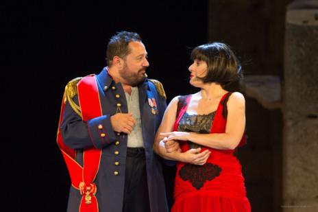 Pepón Nieto y Anabel Alonso, durante un acto de 'El Eunuco' de...