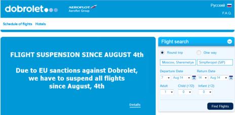 Dobrolet, filial de Aeroflot, ha cancelado sus vuelos a Crimea por el...