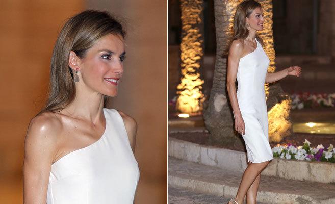 La Reina Letizia, este jueves, en la recepción en La Almudaina.