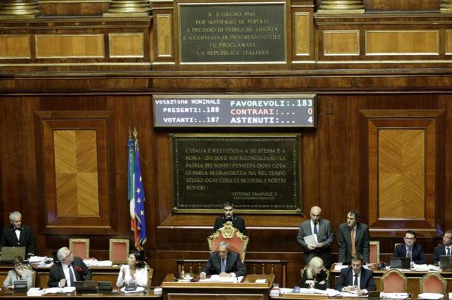 El Senado italiano, durante la aprobación de la primera lectura de la...
