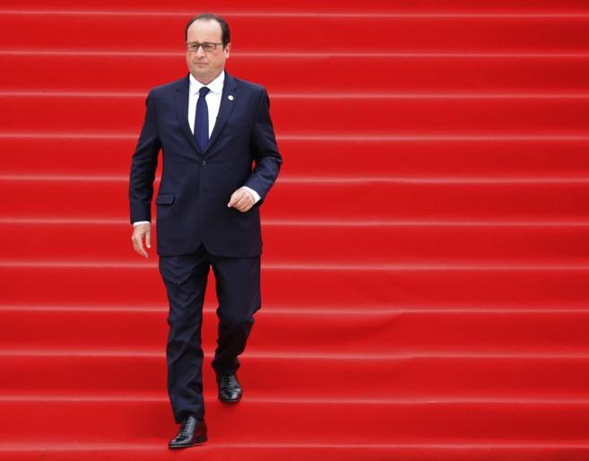 El presidente francés, François Hollande, en Lieja.