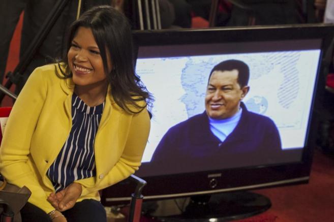 María Gabriela Chávez durante la ceremonia de entrega del Premio...
