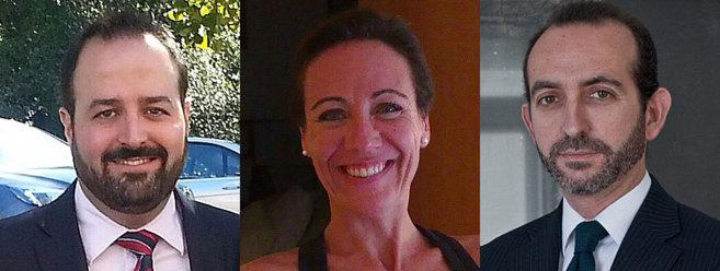 De izq. a der., el fiscal Jorge Bermúdez, y los abogados Ruth Sala y...