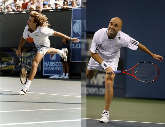 El tenista Andrea Agassi de joven y de veterano.