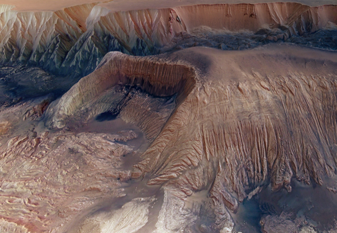 La meseta marciana en Hebes Chasma.