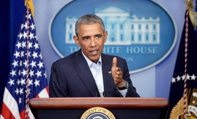 Barack Obama durante su rueda de prensa en la Casa Blanca.
