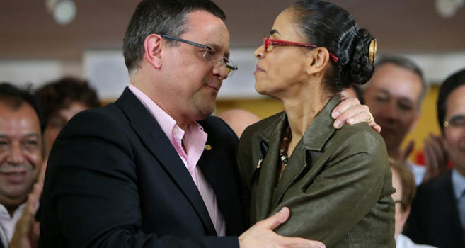 "Marina Silva (d) y Luiz Roberto ""Beto"" Albuquerque (i)."