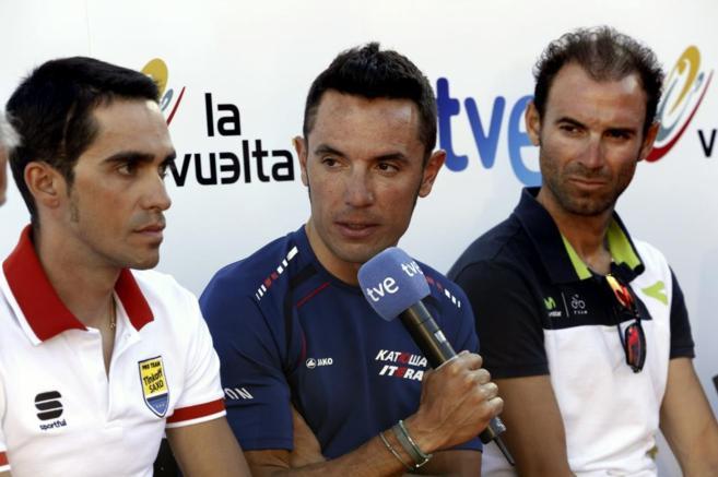 Los ciclistas Contador, 'Purito' y Valverde durante la rueda...