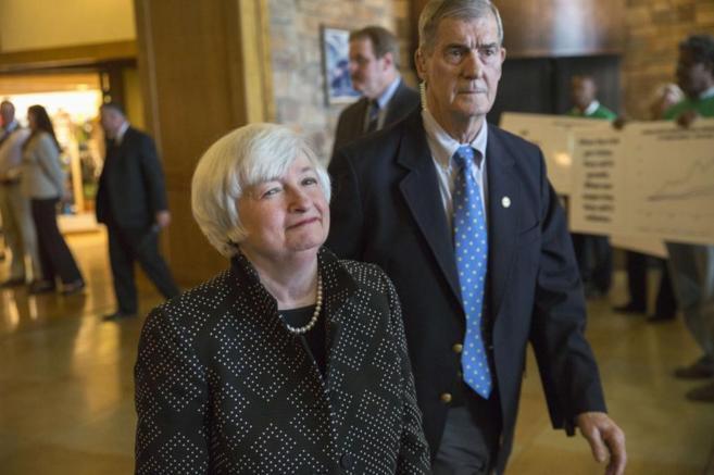 La presidenta de la Reserva Federal, Janet Yellen, en Jackson Hole.