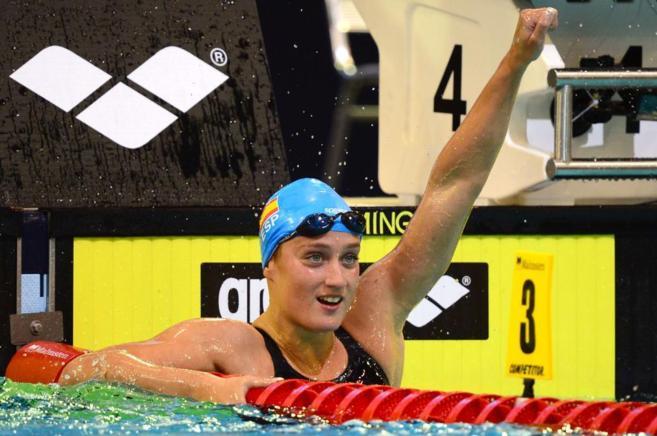 Mireia Belmonte tras la prueba de 1.500 metros estilo libre.