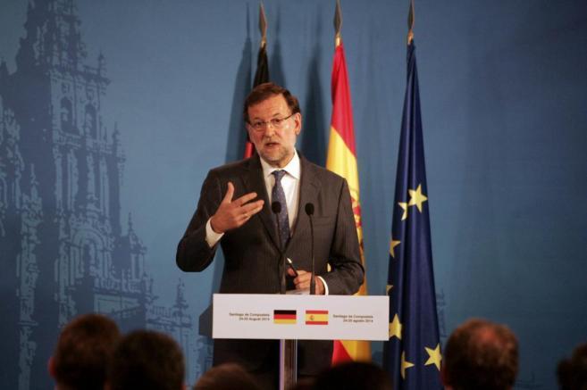 Rueda de prensa conjunta de Mariano Rajoy y Angela Merkel en Santiago...