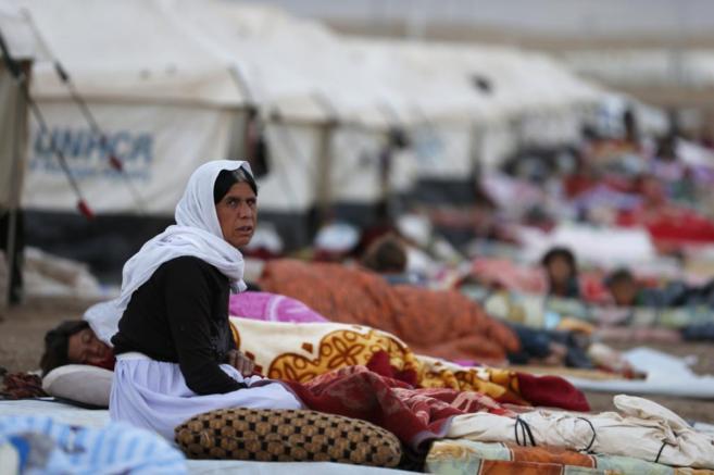 Una desplazada yazidí en el campo de refugiados de Bajed Kalal en...