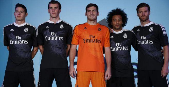 James, Bale, Casillas, Marcelo y Alonso, con la flamante equipación.