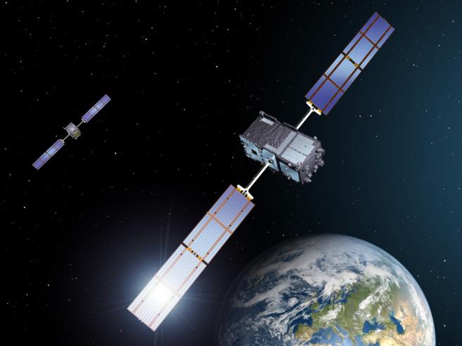Recreación artística de los dos satélites FOC lanzados el viernes.
