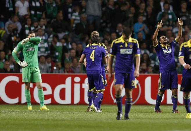 Tavares celebra el gol del Maribor esloveno, que sirvió para eliminar...