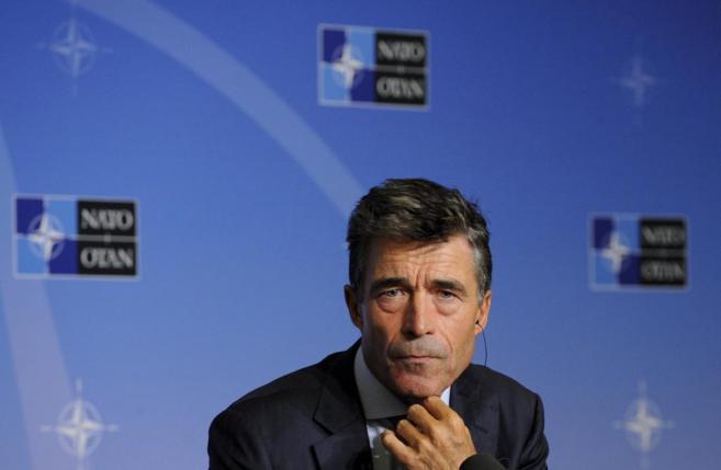 El secretario general de la Alianza, Anders Fogh Ramussen, durante una...