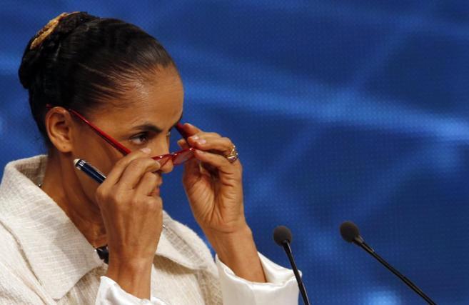 Marina Silva, durante el primer debate televisado de las...