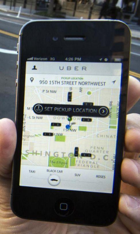 La aplicación Über en el móvil.