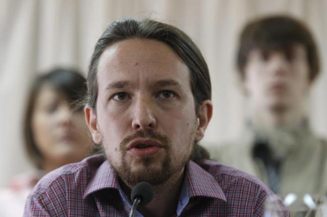 El eurodiputado y líder de Podemos, Pablo Iglesias, durante una rueda...