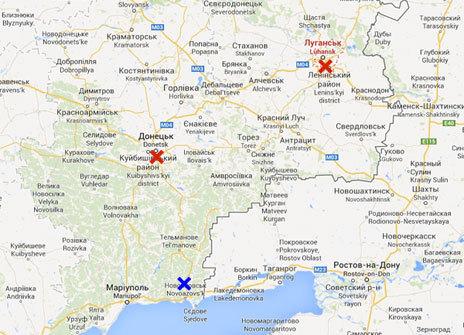 En rojo, Donetsk y Lugansk, controladas por los prorrusos. En azul,...