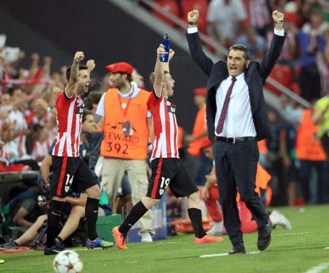 Ernesto Valverde, al final del partido en San Mamés frente al...