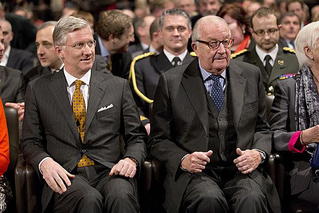 Felipe de Bélgica y su padre, el pasado febrero.