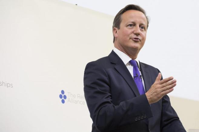 El primer ministro británico, David Cameron, durante una...