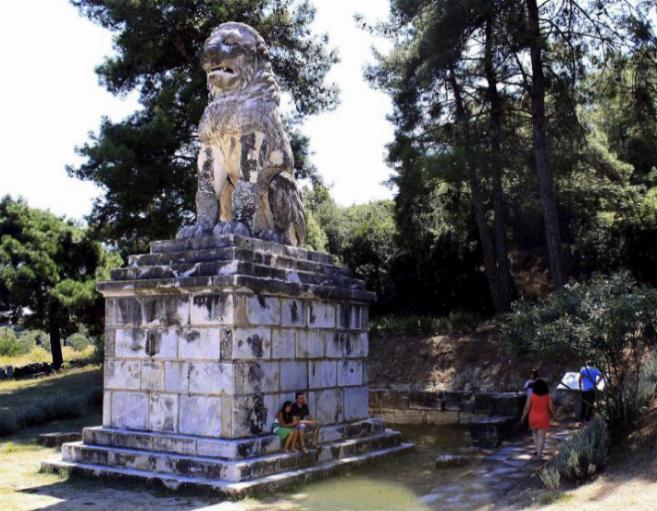 Imagen del León de Anfípolis, coronaba la colina de Kasta, donde se...