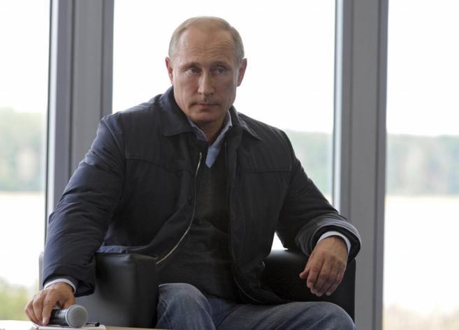 El presidente ruso, Vladimir Putin, en una charla con estudiantes en...