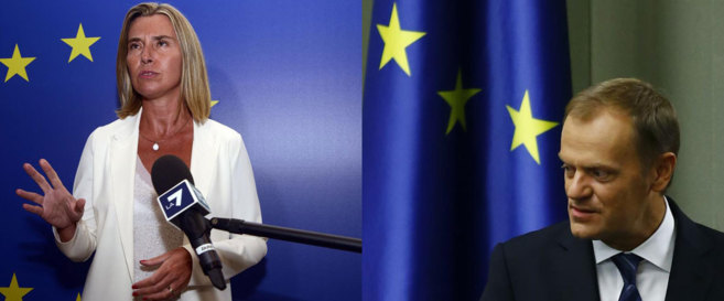 Federica Mogherini  y Donald Tusk.