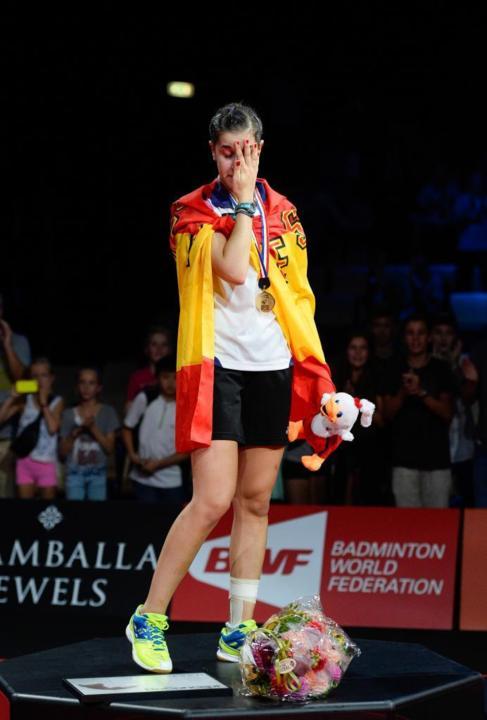 Carolina Marín, tras la victoria en el Mundial de bádminton.