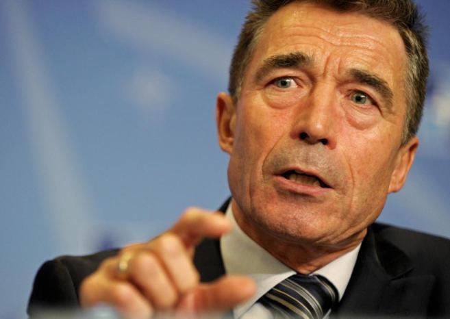 Anders Fogh Rasmussen, secretario general de la OTAN, durante una...