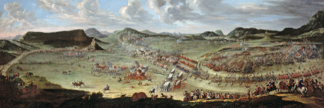 Óleo que recrea la Batalla de Almansa de 1705, que acabó con la...