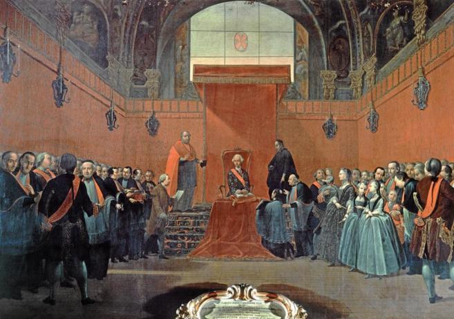 Carlos III toma posesión de la canonjía que le pertenece como conde...