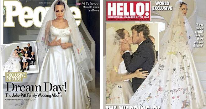 7dcd49caf Angelina Jolie y su vestido de novia...coloreado por sus hijos