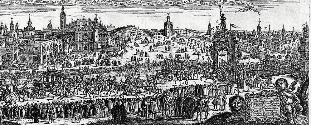 Un detalle de la Sevilla del siglo XVIII en el famoso grabado de Pedro...