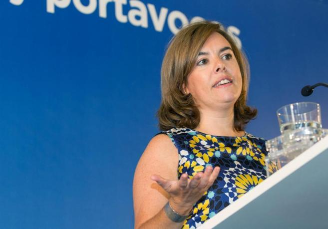 Soraya Sáenz de Santamaría, durante su intervención en la...